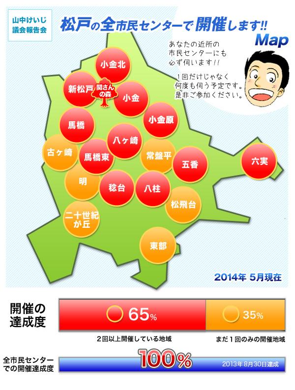 議会報告会の日程&達成Map 2014年5月現在